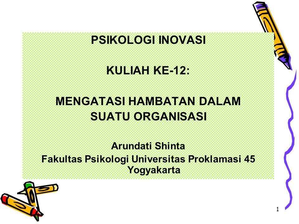 1 PSIKOLOGI INOVASI KULIAH KE-12: MENGATASI HAMBATAN DALAM SUATU ORGANISASI Arundati Shinta Fakultas Psikologi Universitas Proklamasi 45 Yogyakarta