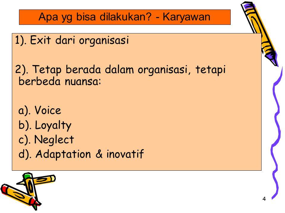 4 1).Exit dari organisasi 2). Tetap berada dalam organisasi, tetapi berbeda nuansa: a).