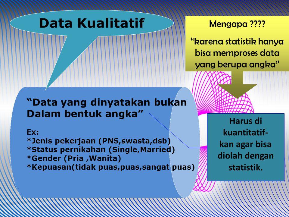 """""""Data yang dinyatakan bukanDalam bentuk angka""""Ex:*Jenis pekerjaan (PNS,swasta,dsb)*Status pernikahan (Single,Married)*Gender (Pria,Wanita)*Kepuasan(ti"""