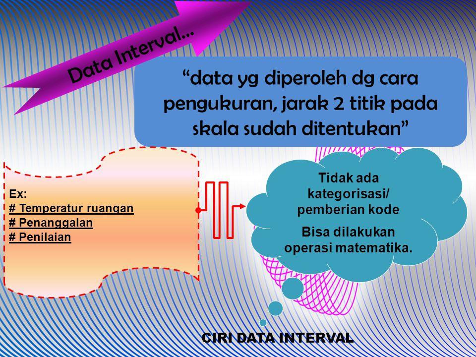 """data yg diperoleh dg cara pengukuran, jarak 2 titik pada skala sudah ditentukan"" Data Interval… Ex: # Temperatur ruangan # Penanggalan # Penilaian Ti"