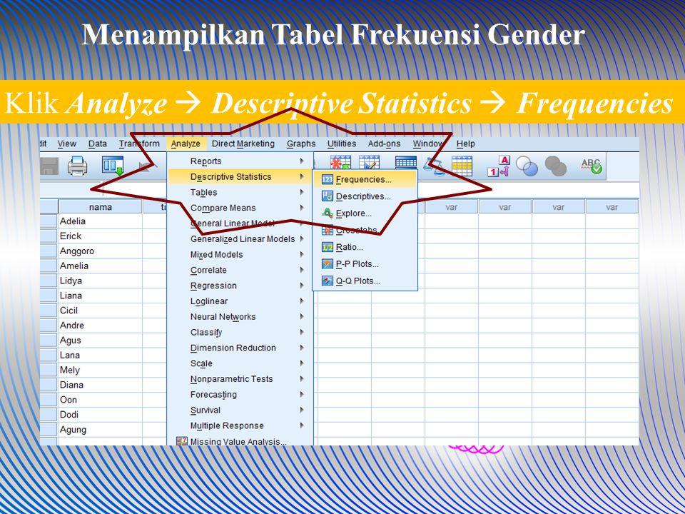 Klik Analyze  Descriptive Statistics  Frequencies Menampilkan Tabel Frekuensi Gender