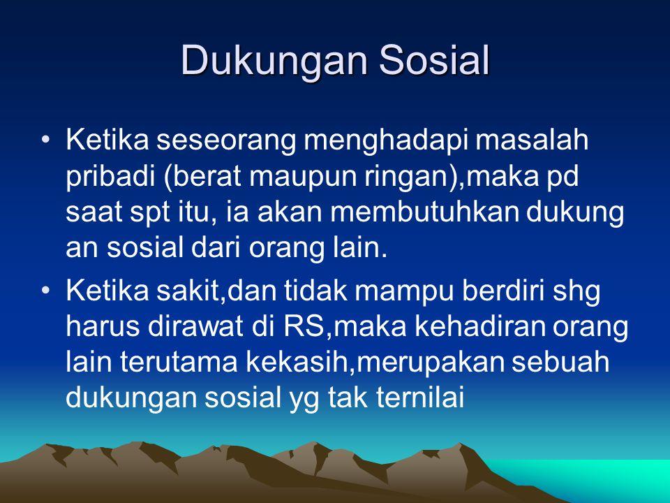 Dukungan Sosial Ketika seseorang menghadapi masalah pribadi (berat maupun ringan),maka pd saat spt itu, ia akan membutuhkan dukung an sosial dari oran