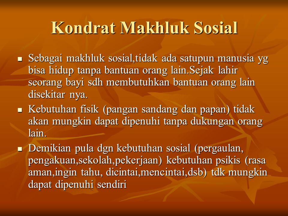 Kondrat Makhluk Sosial Sebagai makhluk sosial,tidak ada satupun manusia yg bisa hidup tanpa bantuan orang lain.Sejak lahir seorang bayi sdh membutuhka