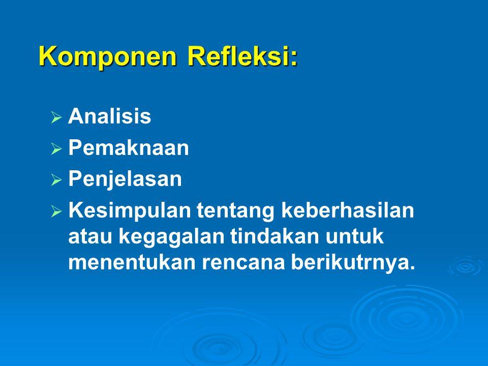 Komponen Refleksi:   Analisis   Pemaknaan   Penjelasan   Kesimpulan tentang keberhasilan atau kegagalan tindakan untuk menentukan rencana beri