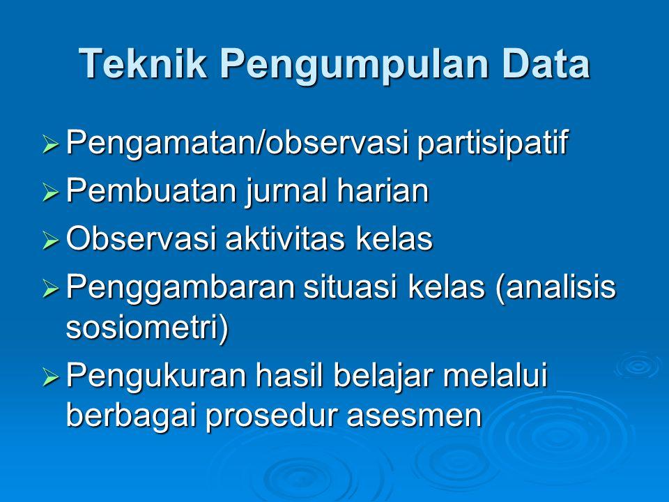 Teknik Pengumpulan Data  Pengamatan/observasi partisipatif  Pembuatan jurnal harian  Observasi aktivitas kelas  Penggambaran situasi kelas (analis