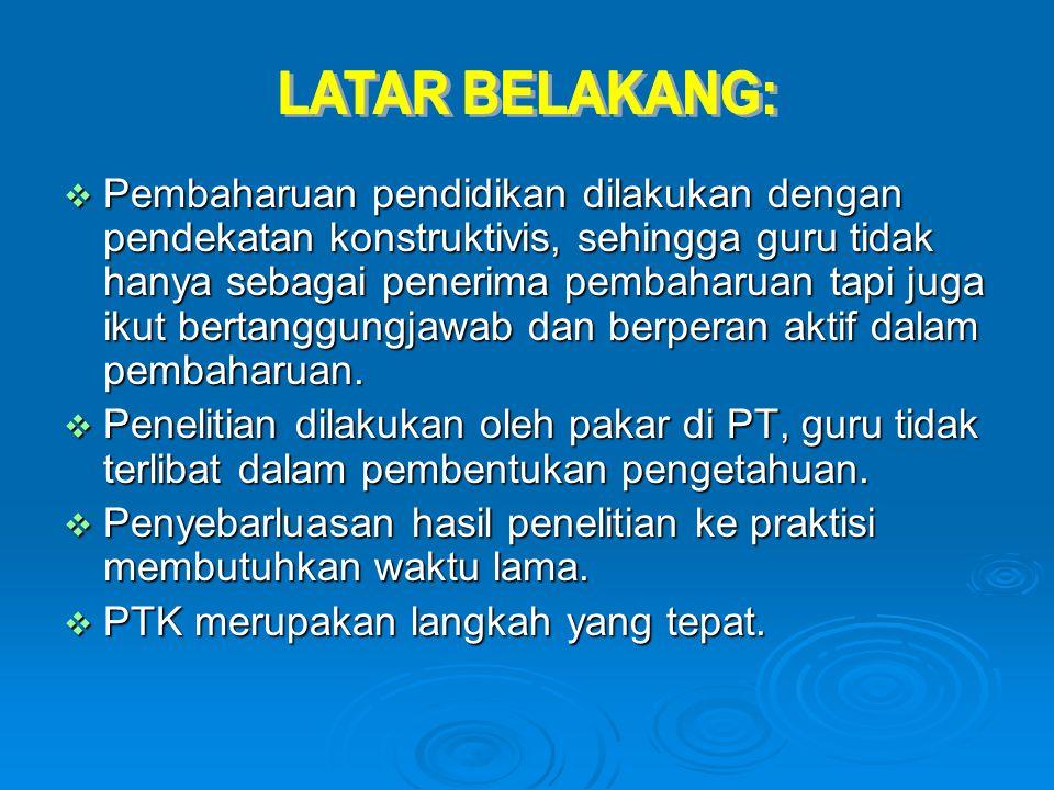 I.PENELITIAN TINDAKAN KELAS (PTK) A. Pengertian PTK B.