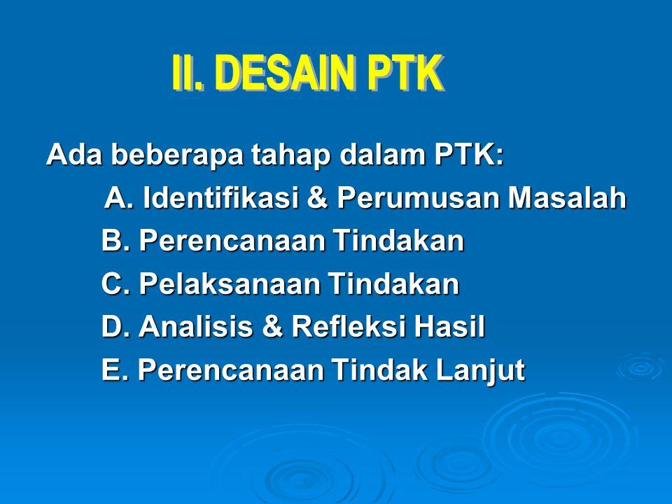 Ada beberapa tahap dalam PTK: A. Identifikasi & Perumusan Masalah A. Identifikasi & Perumusan Masalah B. Perencanaan Tindakan C. Pelaksanaan Tindakan