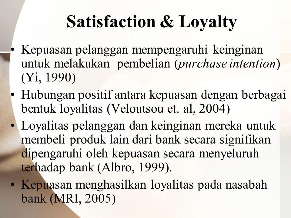 Satisfaction & Loyalty Kepuasan pelanggan mempengaruhi keinginan untuk melakukan pembelian (purchase intention) (Yi, 1990) Hubungan positif antara kep