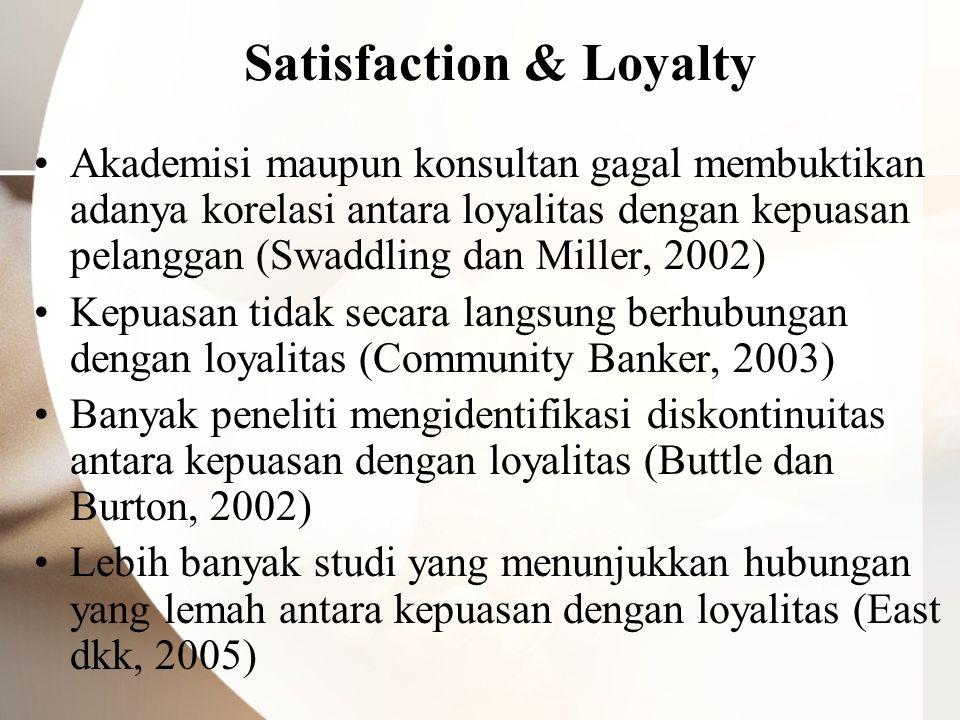 Satisfaction & Loyalty Akademisi maupun konsultan gagal membuktikan adanya korelasi antara loyalitas dengan kepuasan pelanggan (Swaddling dan Miller,