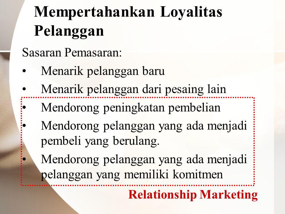 Mempertahankan Loyalitas Pelanggan Sasaran Pemasaran: Menarik pelanggan baru Menarik pelanggan dari pesaing lain Mendorong peningkatan pembelian Mendo