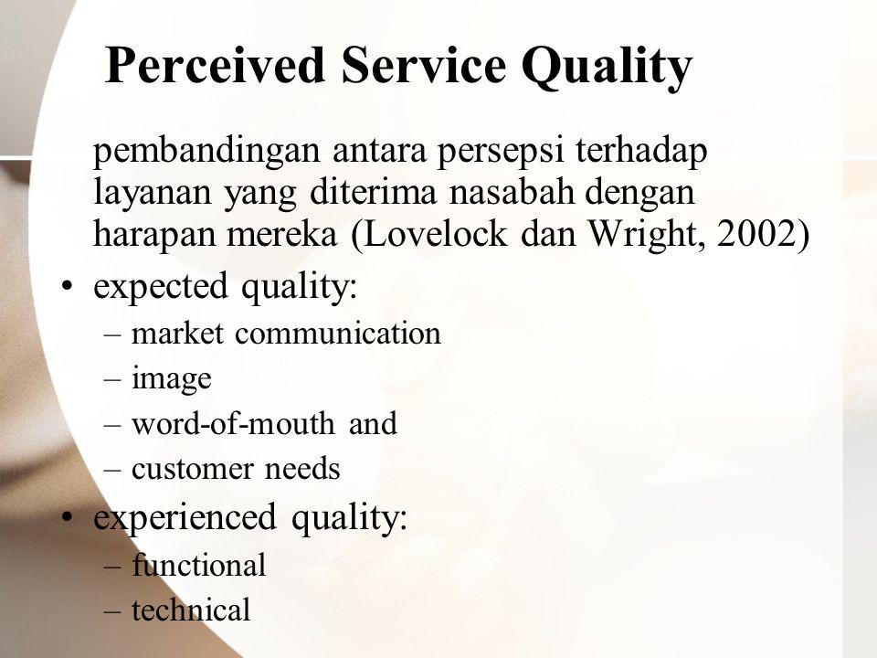 Perceived Service Quality pembandingan antara persepsi terhadap layanan yang diterima nasabah dengan harapan mereka (Lovelock dan Wright, 2002) expect