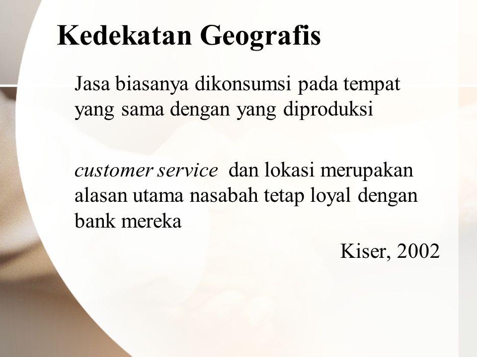 Kedekatan Geografis Jasa biasanya dikonsumsi pada tempat yang sama dengan yang diproduksi customer service dan lokasi merupakan alasan utama nasabah t