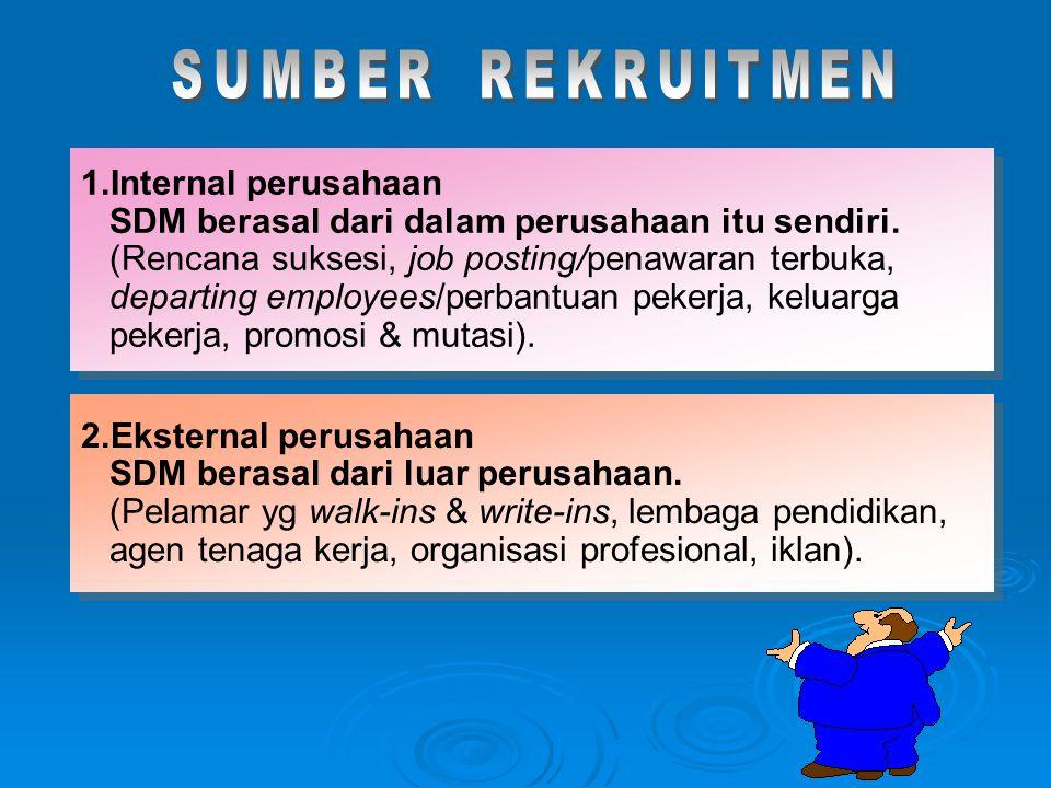 1.Internal perusahaan SDM berasal dari dalam perusahaan itu sendiri. (Rencana suksesi, job posting/penawaran terbuka, departing employees/perbantuan p