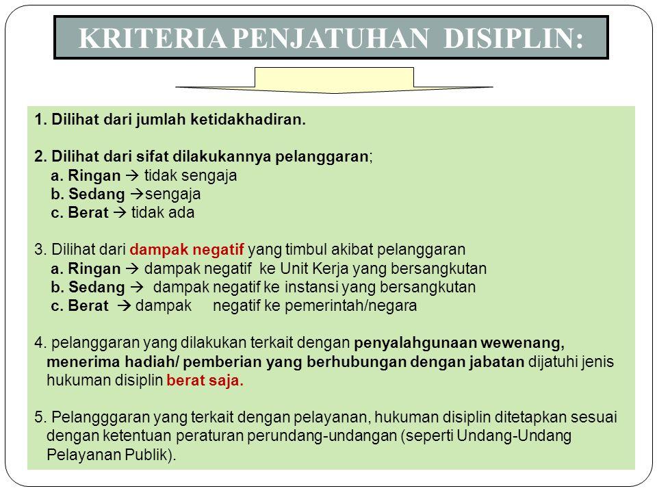 11 1. Tingkat hukuman disiplin  hukuman disiplin ringan, hukuman disiplin, sedang, hukuman disiplin berat 2. Hukuman disiplin ringan : a. teguran lis