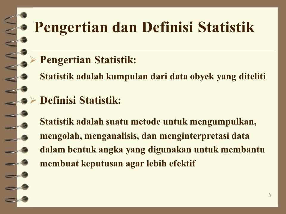 3 Pengertian dan Definisi Statistik  Pengertian Statistik: Statistik adalah kumpulan dari data obyek yang diteliti  Definisi Statistik: Statistik adalah suatu metode untuk mengumpulkan, mengolah, menganalisis, dan menginterpretasi data dalam bentuk angka yang digunakan untuk membantu membuat keputusan agar lebih efektif