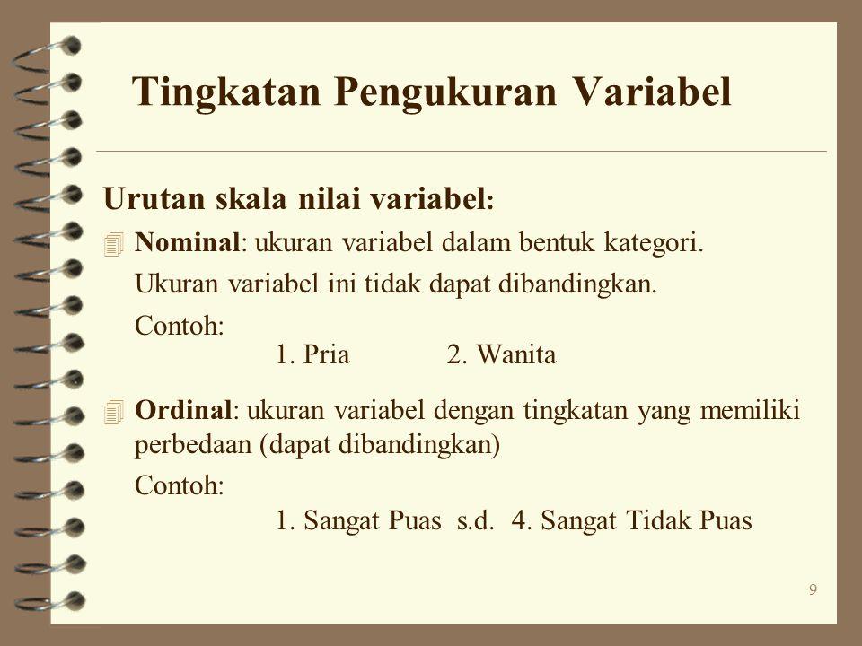 9 Tingkatan Pengukuran Variabel Urutan skala nilai variabel : 4 Nominal: ukuran variabel dalam bentuk kategori.