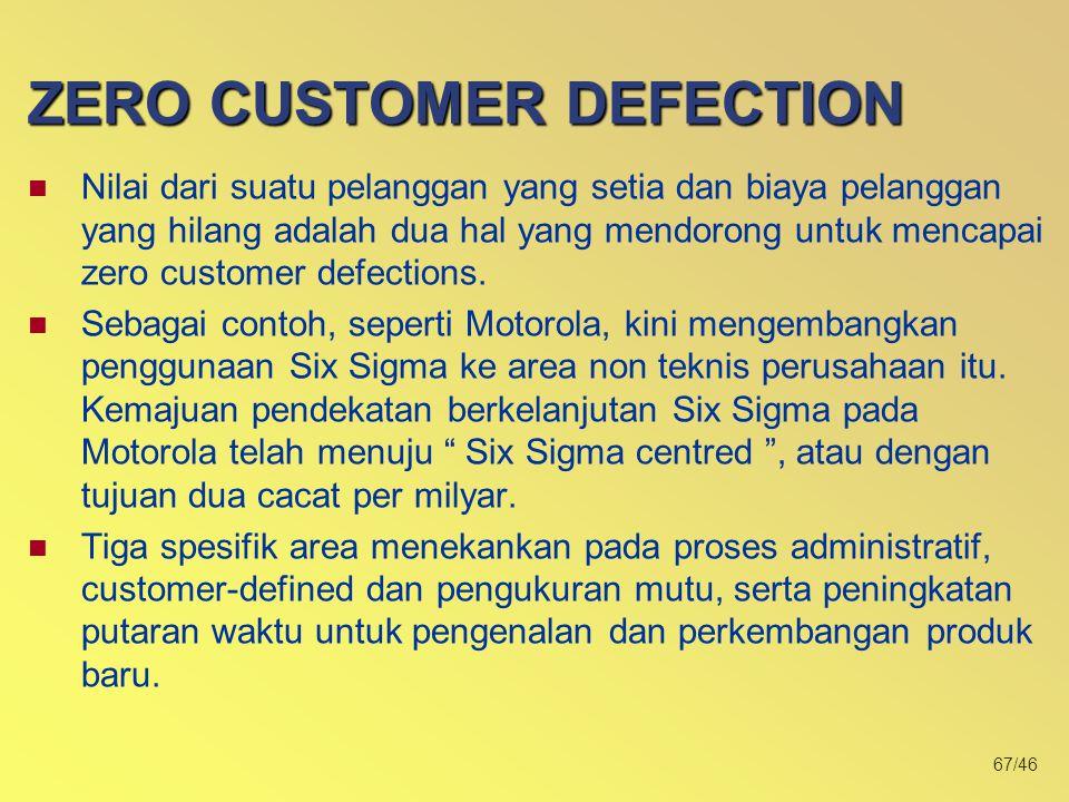 67/46 Nilai dari suatu pelanggan yang setia dan biaya pelanggan yang hilang adalah dua hal yang mendorong untuk mencapai zero customer defections.