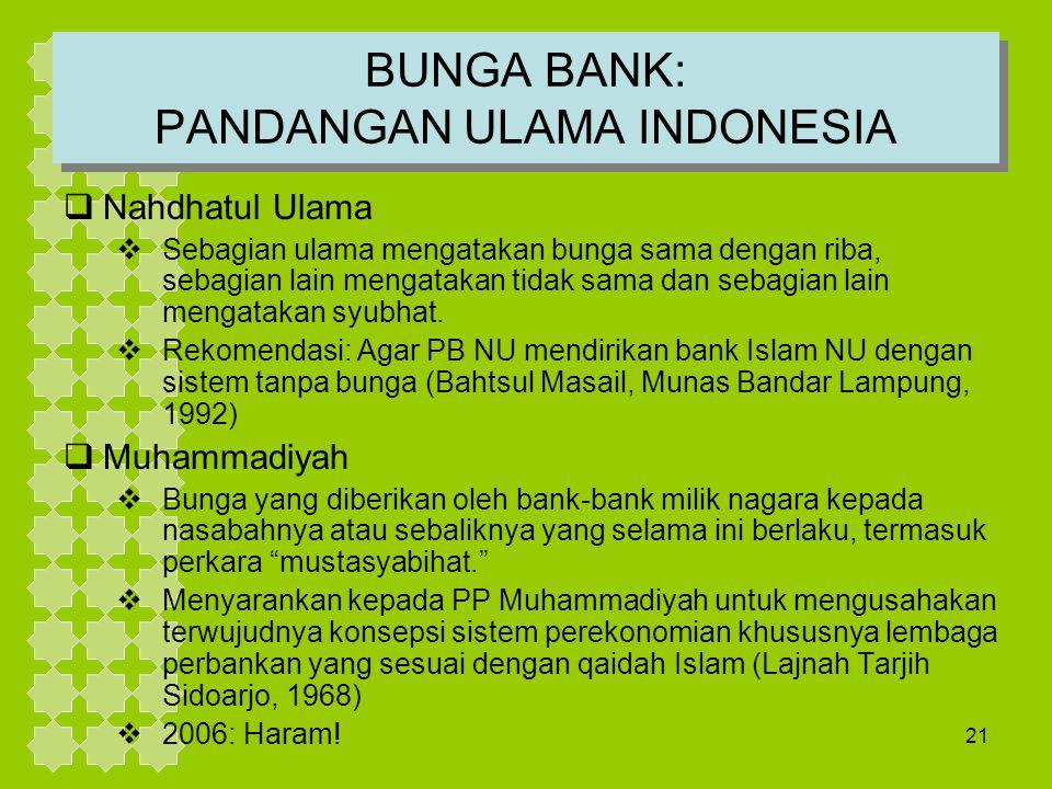 21 BUNGA BANK: PANDANGAN ULAMA INDONESIA  Nahdhatul Ulama  Sebagian ulama mengatakan bunga sama dengan riba, sebagian lain mengatakan tidak sama dan