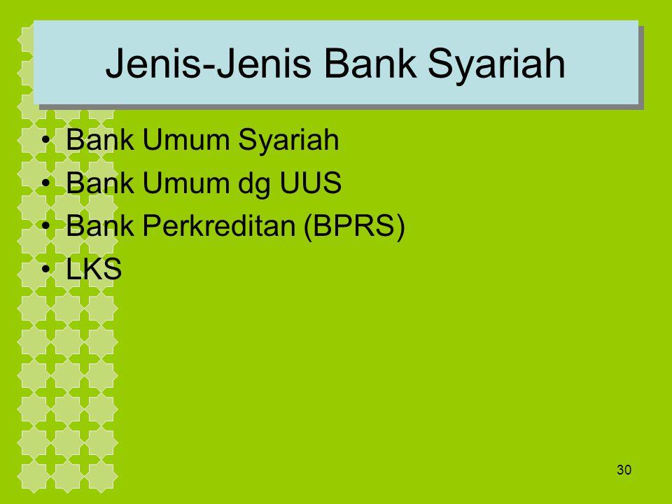 30 Jenis-Jenis Bank Syariah Bank Umum Syariah Bank Umum dg UUS Bank Perkreditan (BPRS) LKS