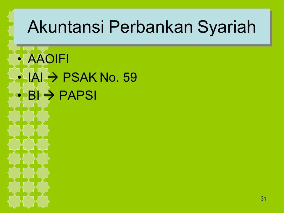 31 Akuntansi Perbankan Syariah AAOIFI IAI  PSAK No. 59 BI  PAPSI