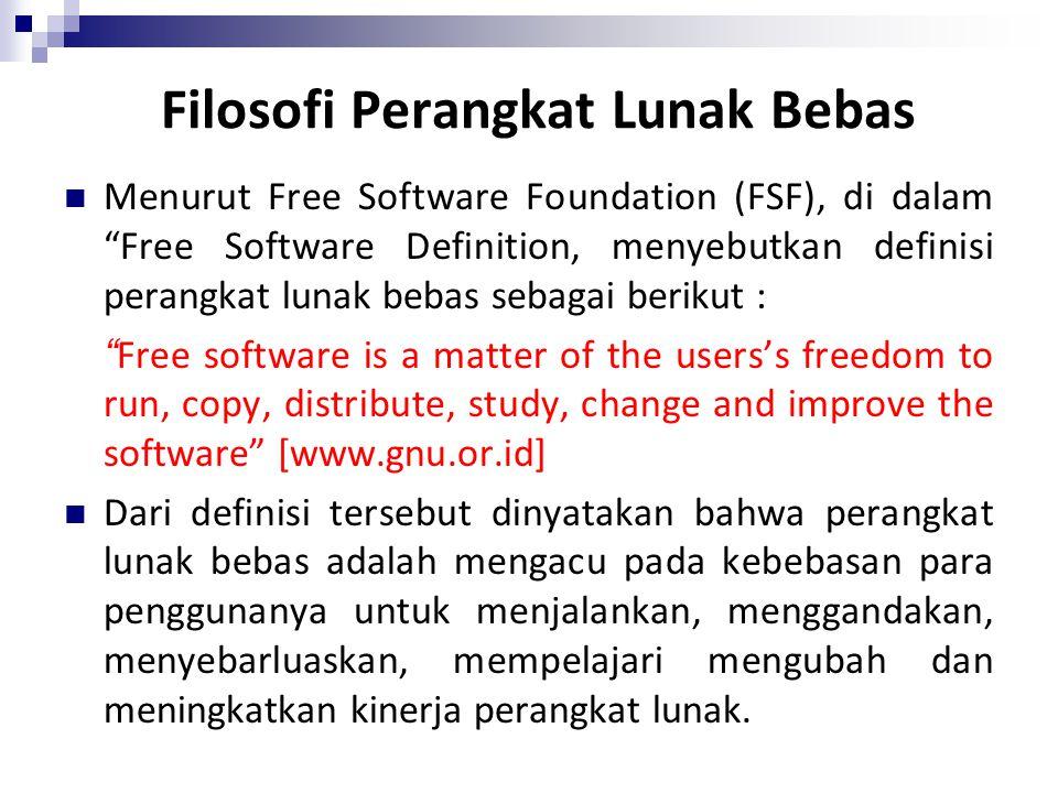 """Filosofi Perangkat Lunak Bebas Menurut Free Software Foundation (FSF), di dalam """"Free Software Definition, menyebutkan definisi perangkat lunak bebas"""