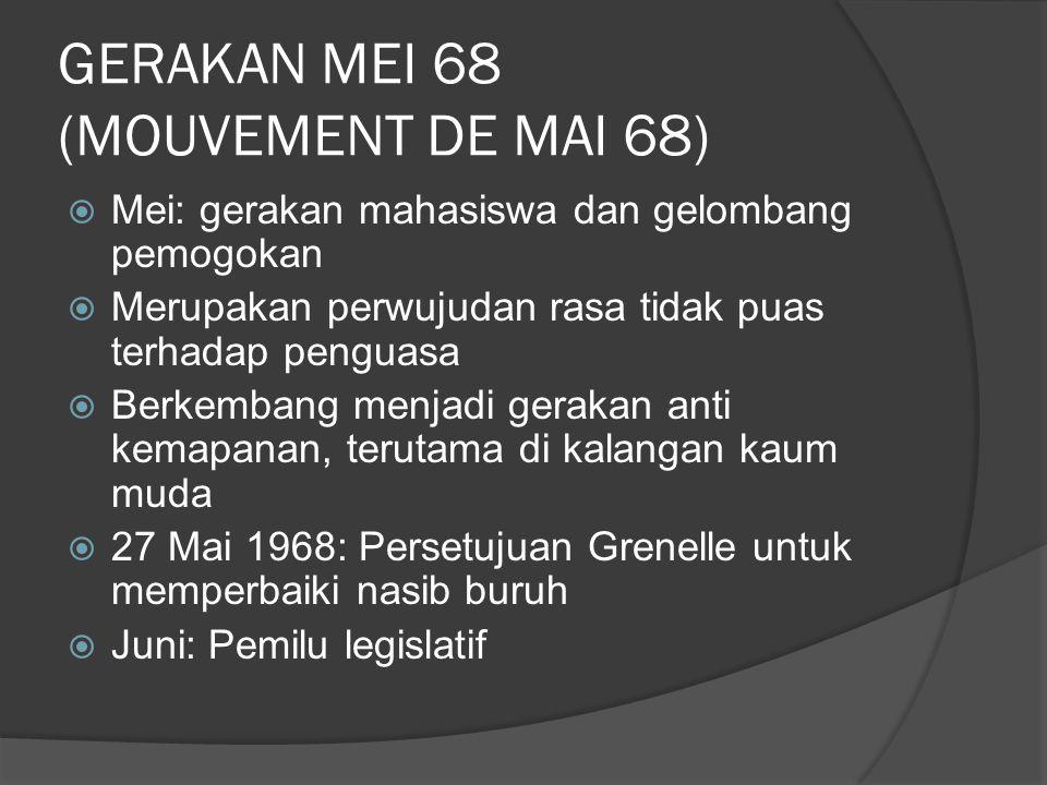 GERAKAN MEI 68 (MOUVEMENT DE MAI 68)  Mei: gerakan mahasiswa dan gelombang pemogokan  Merupakan perwujudan rasa tidak puas terhadap penguasa  Berke