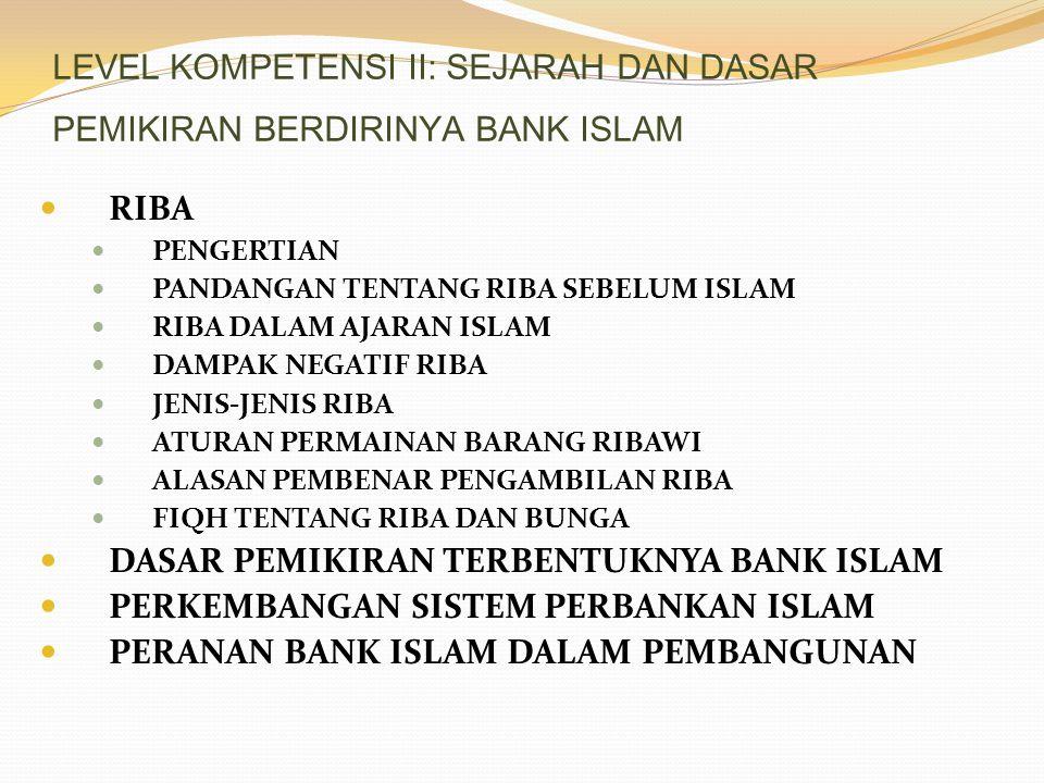 LEVEL KOMPETENSI II: SEJARAH DAN DASAR PEMIKIRAN BERDIRINYA BANK ISLAM RIBA PENGERTIAN PANDANGAN TENTANG RIBA SEBELUM ISLAM RIBA DALAM AJARAN ISLAM DA