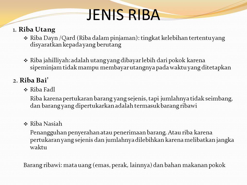 JENIS RIBA 1. Riba Utang  Riba Dayn /Qard (Riba dalam pinjaman): tingkat kelebihan tertentu yang disyaratkan kepada yang berutang  Riba jahilliyah: