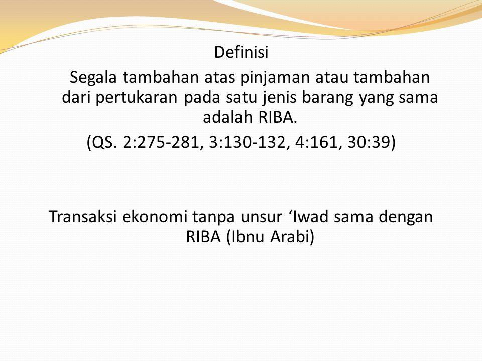 Definisi Segala tambahan atas pinjaman atau tambahan dari pertukaran pada satu jenis barang yang sama adalah RIBA. (QS. 2:275-281, 3:130-132, 4:161, 3