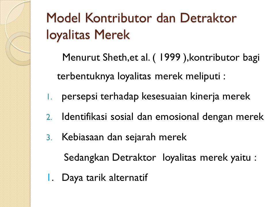 Model Kontributor dan Detraktor loyalitas Merek Menurut Sheth,et al. ( 1999 ),kontributor bagi terbentuknya loyalitas merek meliputi : 1. persepsi ter