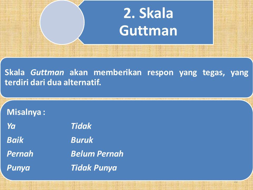 11 1. Skala Likert Skala Likert's digunakan untuk mengukur sikap, pendapat dan persepsi seseorang tentang fenomena sosial. Contoh: Pelayanan rumah sak