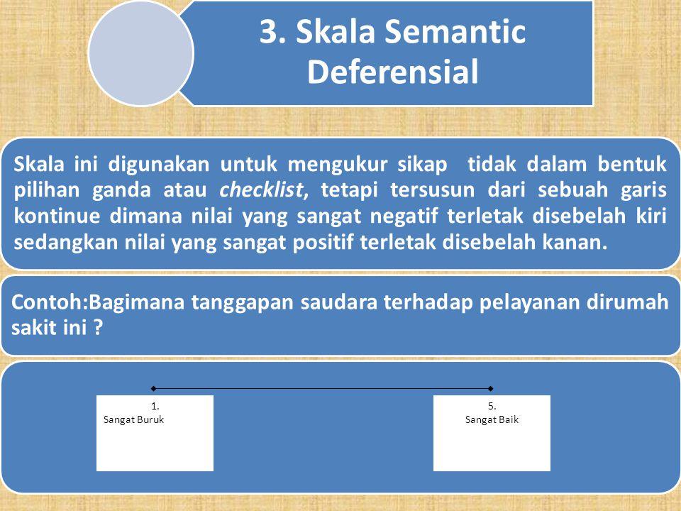 12 2. Skala Guttman Skala Guttman akan memberikan respon yang tegas, yang terdiri dari dua alternatif. Misalnya : YaTidak Baik Buruk PernahBelum Perna