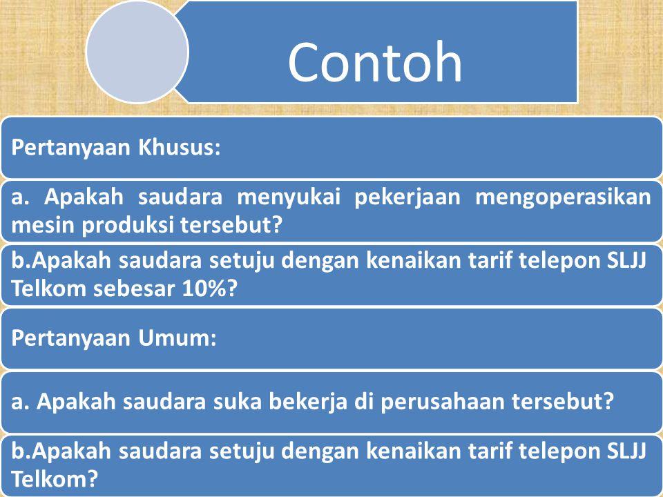 b. Pertanyaan Khusus v.s Pertanyaan Umum Pertanyaan Khusus menanyakan hal-hal yang khusus terhadap responden yang menyebabkan responden menjadi sadar
