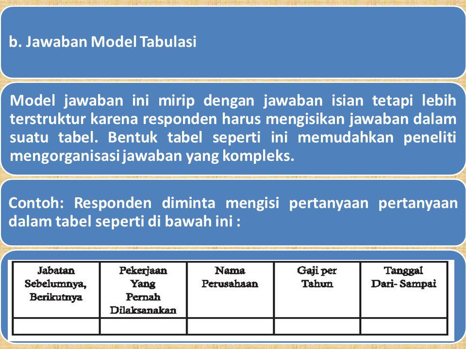 a. Jawaban Isian Model jawaban ini merupakan bentuk transisi dari tidak terstruktur ke model jawaban pertanyaan terstruktur. Meski responden diberi ke