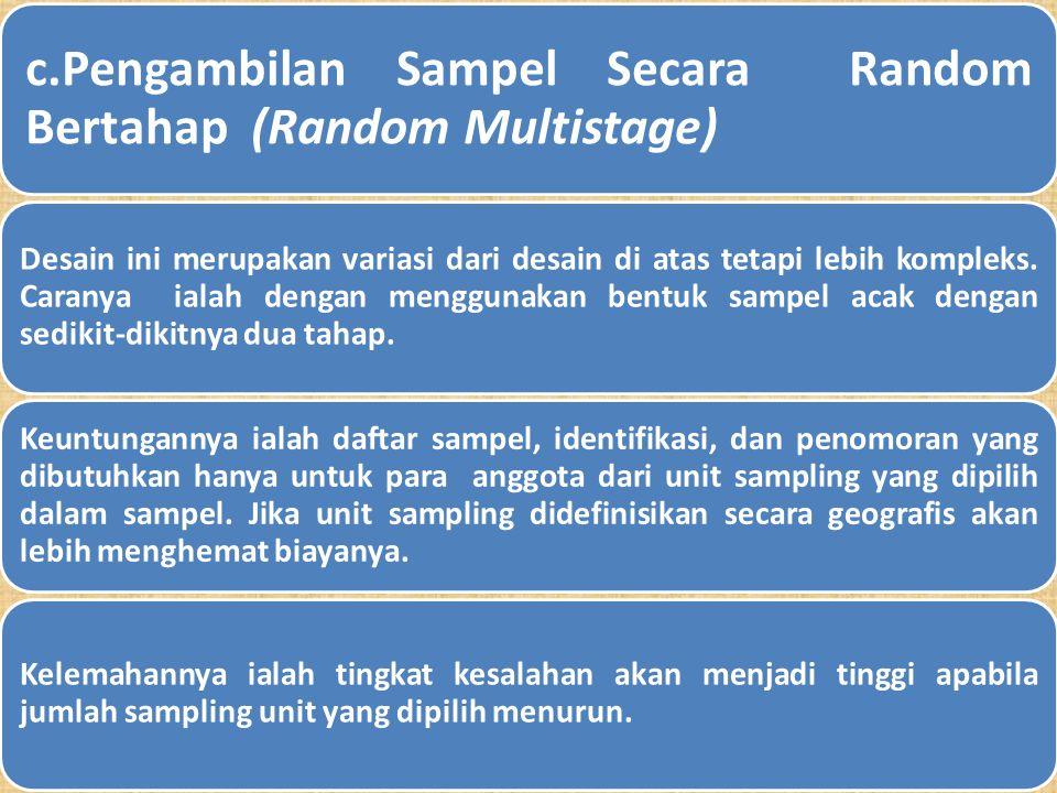b. Pengambilan Sampel Secara Random Sistematis (Systematic Random Sampling) Teknik ini merupakan pengembangan teknik sebelumnya hanya bedanya teknik i