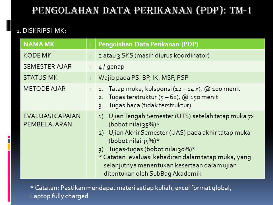 PENGOLAHAN DATA PERIKANAN (PDP): TM-1 1.