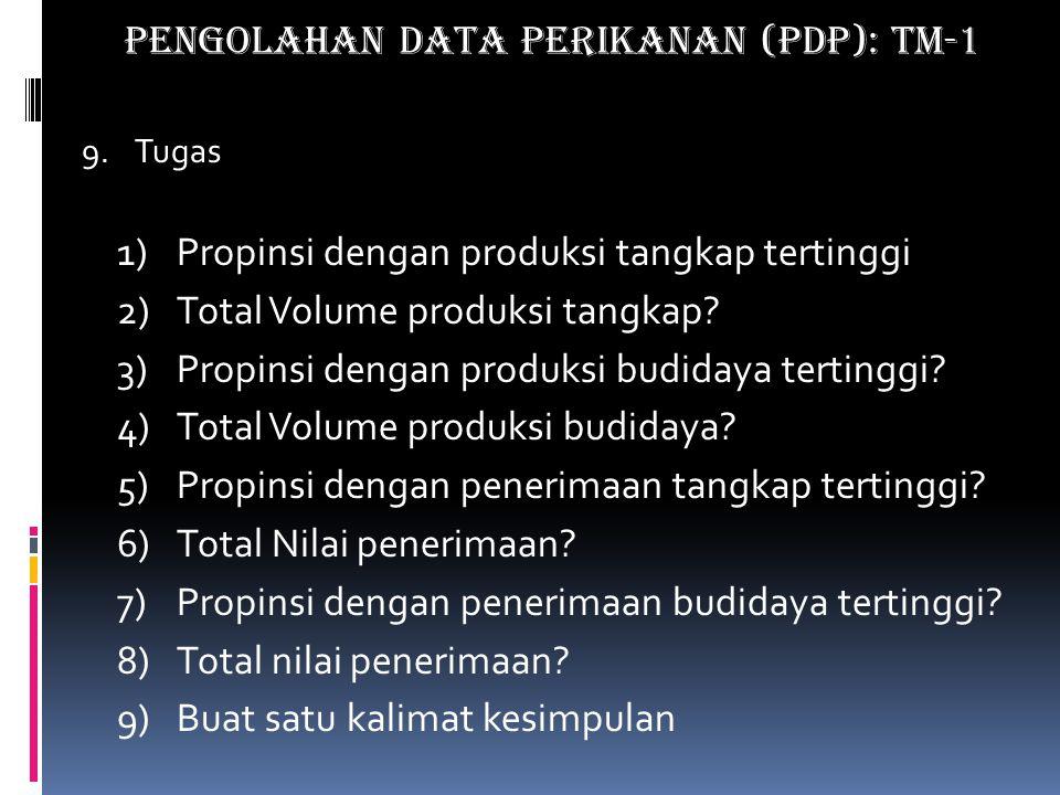 9.Tugas 1)Propinsi dengan produksi tangkap tertinggi 2)Total Volume produksi tangkap.