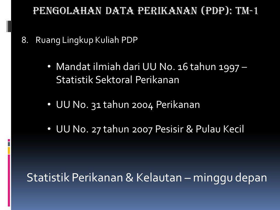 8.Ruang Lingkup Kuliah PDP Mandat ilmiah dari UU No.