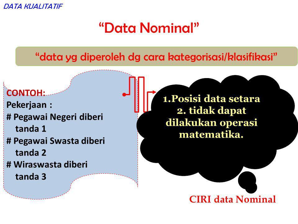 """Data Nominal"" ""data yg diperoleh dg cara kategorisasi/klasifikasi"" CONTOH: Pekerjaan : # Pegawai Negeri diberi tanda 1 # Pegawai Swasta diberi tanda"