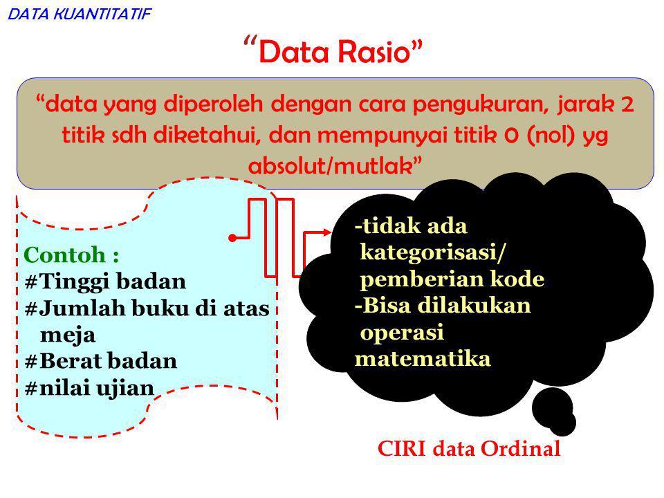 """"""" Data Rasio"""" """"data yang diperoleh dengan cara pengukuran, jarak 2 titik sdh diketahui, dan mempunyai titik 0 (nol) yg absolut/mutlak"""" Contoh : #Tingg"""