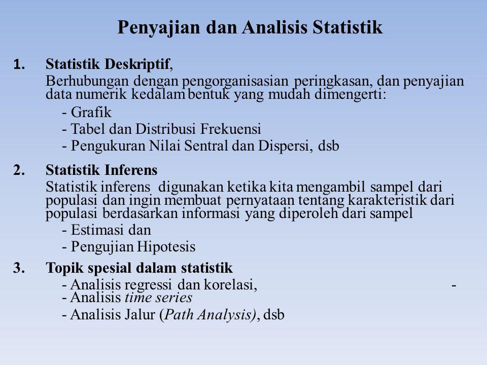 Penyajian dan Analisis Statistik 1. Statistik Deskriptif, Berhubungan dengan pengorganisasian peringkasan, dan penyajian data numerik kedalam bentuk y