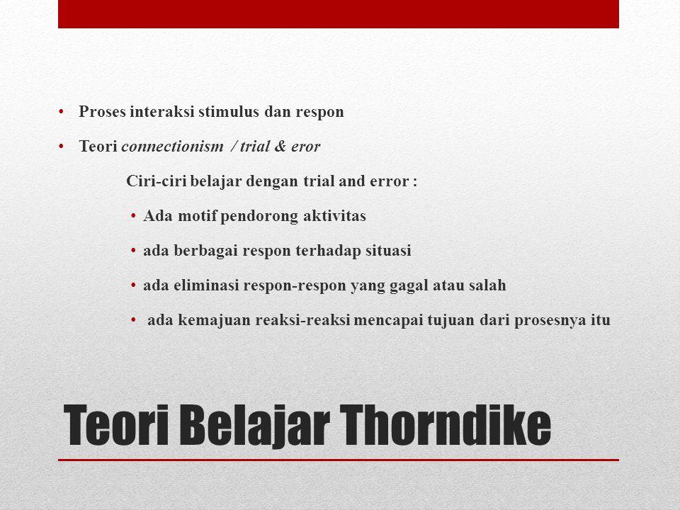 Teori Belajar Thorndike Proses interaksi stimulus dan respon Teori connectionism / trial & eror Ciri-ciri belajar dengan trial and error : Ada motif pendorong aktivitas ada berbagai respon terhadap situasi ada eliminasi respon-respon yang gagal atau salah ada kemajuan reaksi-reaksi mencapai tujuan dari prosesnya itu