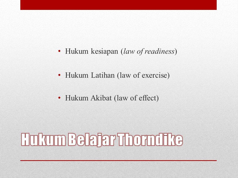 Hukum kesiapan (law of readiness) Hukum Latihan (law of exercise) Hukum Akibat (law of effect)