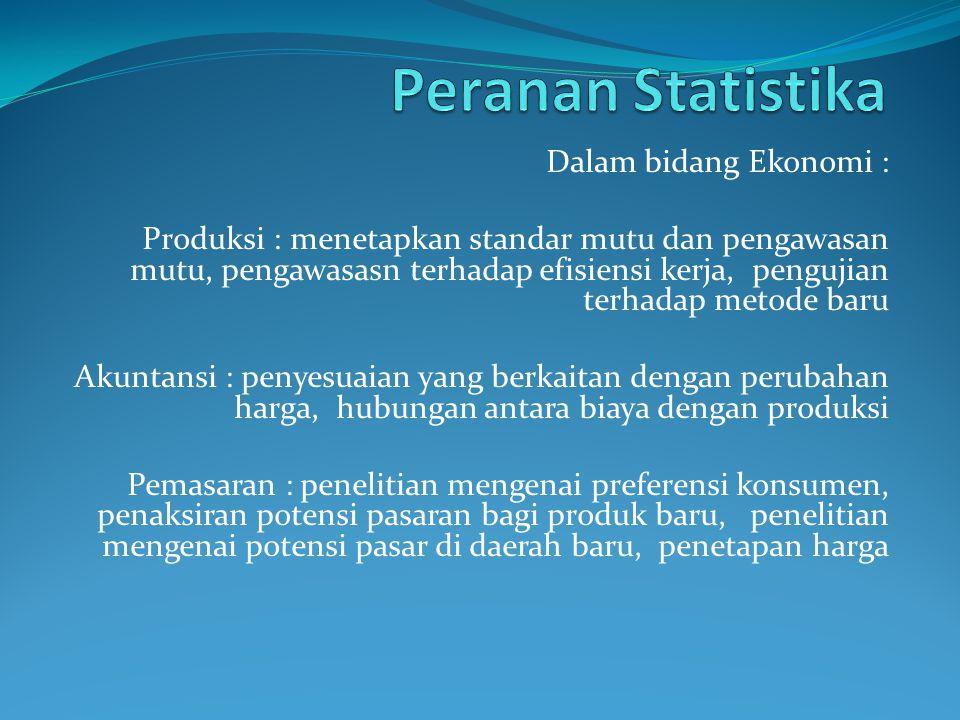 Dalam bidang Ekonomi : Produksi : menetapkan standar mutu dan pengawasan mutu, pengawasasn terhadap efisiensi kerja, pengujian terhadap metode baru Ak