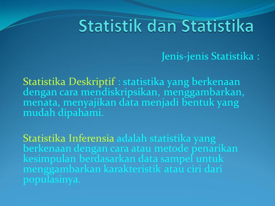 Jenis-jenis Statistika : Statistika Deskriptif : statistika yang berkenaan dengan cara mendiskripsikan, menggambarkan, menata, menyajikan data menjadi