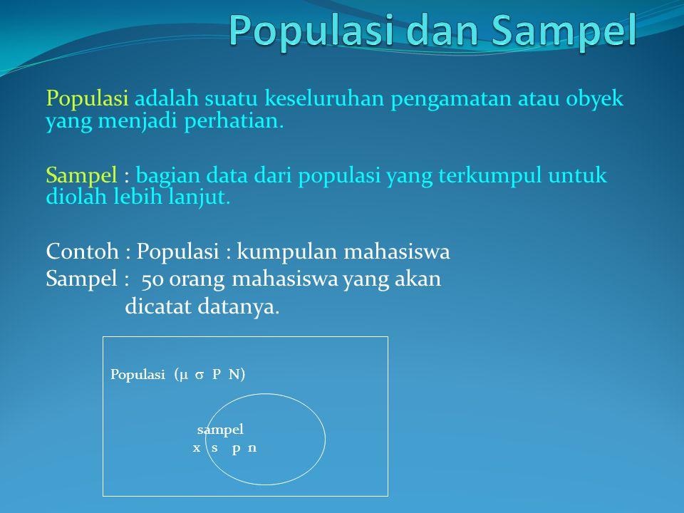 Populasi adalah suatu keseluruhan pengamatan atau obyek yang menjadi perhatian. Sampel : bagian data dari populasi yang terkumpul untuk diolah lebih l