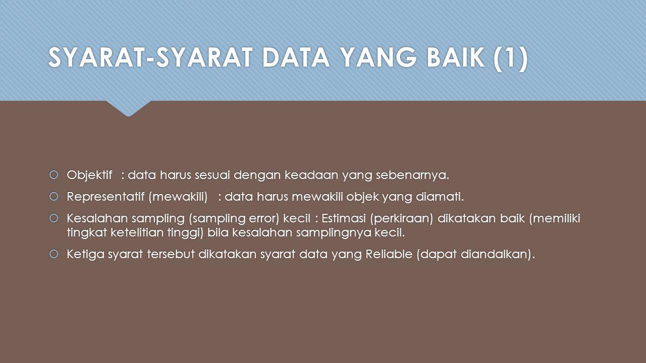 SYARAT-SYARAT DATA YANG BAIK (1)  Objektif: data harus sesuai dengan keadaan yang sebenarnya.