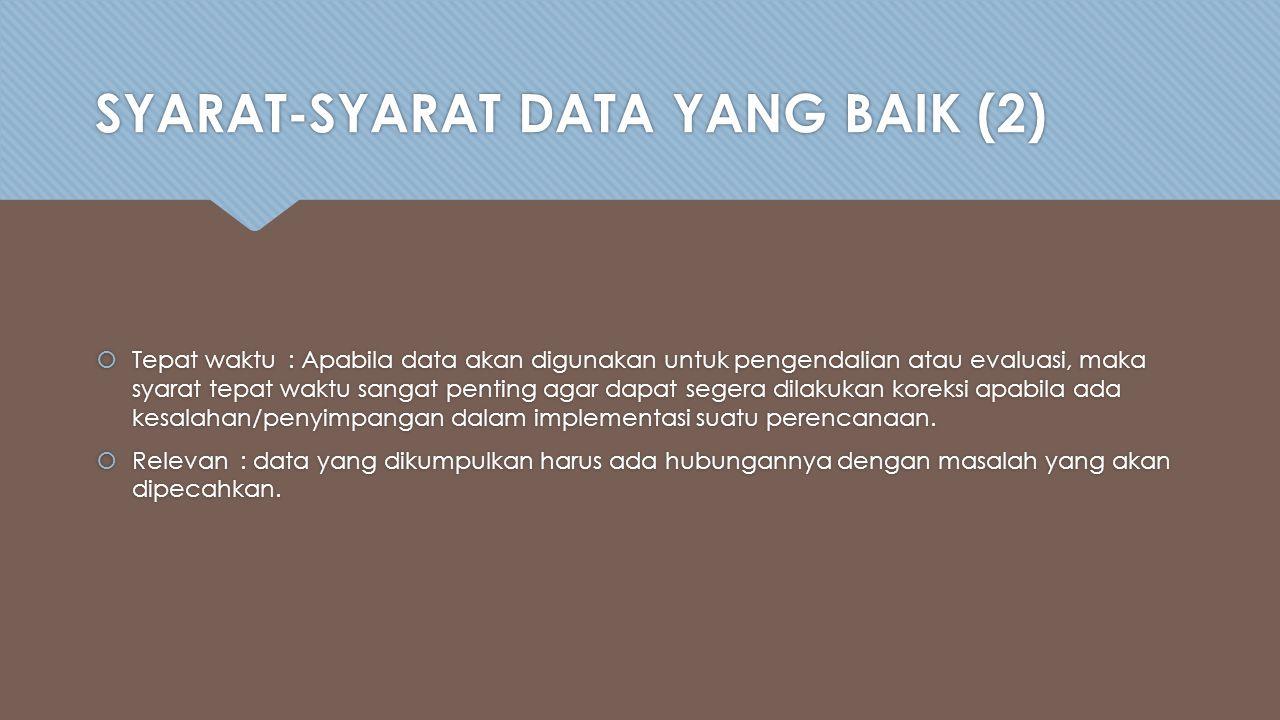 SYARAT-SYARAT DATA YANG BAIK (2)  Tepat waktu: Apabila data akan digunakan untuk pengendalian atau evaluasi, maka syarat tepat waktu sangat penting agar dapat segera dilakukan koreksi apabila ada kesalahan/penyimpangan dalam implementasi suatu perencanaan.