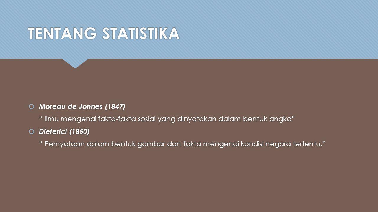 TENTANG STATISTIKA  Moreau de Jonnes (1847) Ilmu mengenai fakta-fakta sosial yang dinyatakan dalam bentuk angka  Dieterici (1850) Pernyataan dalam bentuk gambar dan fakta mengenai kondisi negara tertentu.  Moreau de Jonnes (1847) Ilmu mengenai fakta-fakta sosial yang dinyatakan dalam bentuk angka  Dieterici (1850) Pernyataan dalam bentuk gambar dan fakta mengenai kondisi negara tertentu.