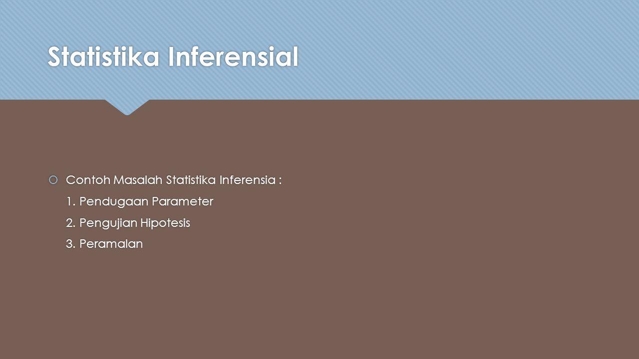 Statistika Inferensial  Contoh Masalah Statistika Inferensia : 1.